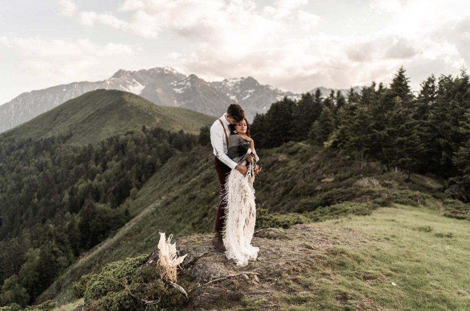Photographe de Mariage, séance d'inspiration Elopment dans les Pyrénées